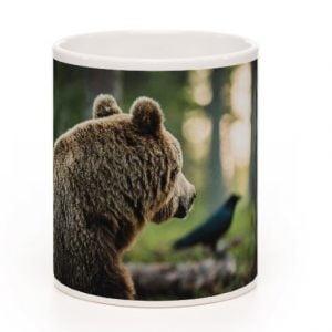 Karhu ja korppi muki posliinia 3DL